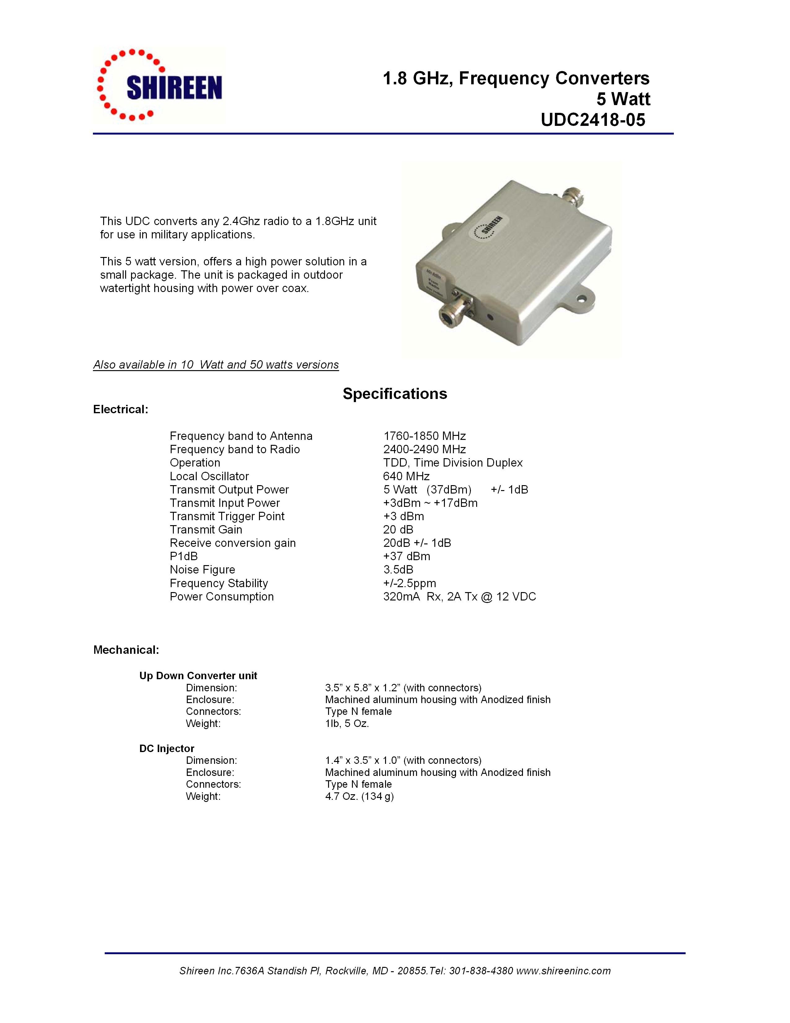 2.4GHz to 1.8GHz converter 5W