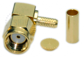 SMA Male Reverse Polarity Right Angle Connector For RG316 / RG174A-U / LMR100A / RFC100A cables