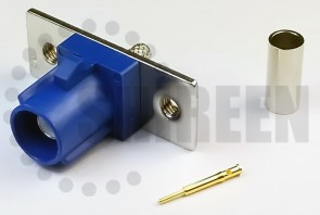 Fakra C (Blue) Plug / Male 2 Hole Flange For RG316 / RG174A-U / LMR100A / RFC100A cables