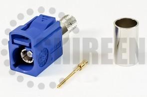 Fakra C (Blue) Jack / Female For RG8x / LMR240 / LMR240UF / RFC240 / RFC240UF cables