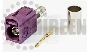 Fakra D (Bordeaux-Violet) Jack / Female For RG8x / LMR240 / LMR240UF / RFC240 / RFC240UF cables